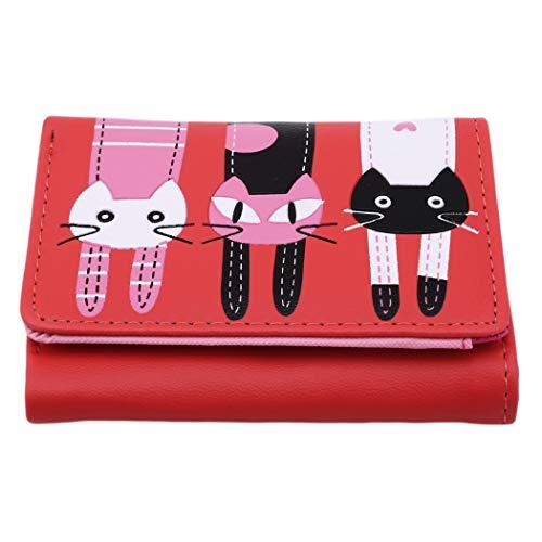 Eleusine Cute Cartoon Cat Imprimé Pliable Court Portefeuille Porte-Monnaie Organisateur Poche Petit Porte-Carte de Crédit Rouge