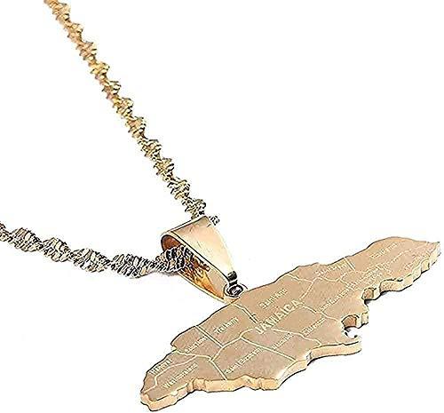 BEISUOSIBYW Co.,Ltd Collar Collar de Acero Inoxidable Color Dorado Collares de Jamaica Bandera Jamaica Charm Joyas Regalos
