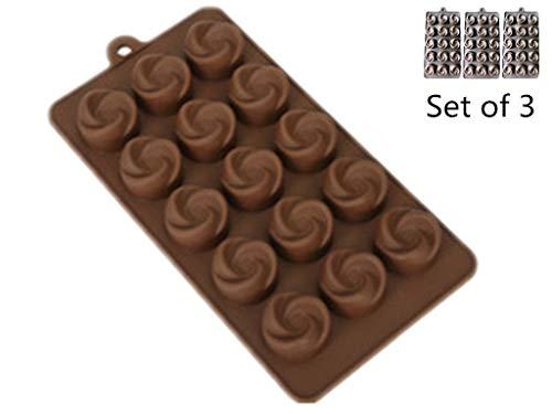 Lot de 3Moule à gâteau en Silicone Moule à Chocolat, 15cavité, Ice Lattice DIY Moule à Chocolat Fait à la Main Savon Mould-Vortex