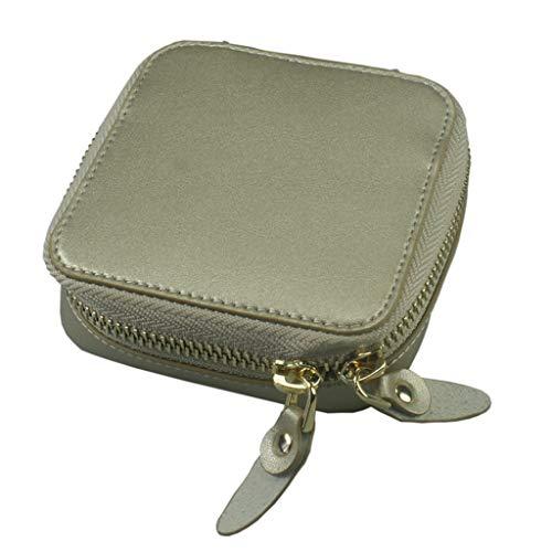 Shefii - Joyero portátil para joyas, anillos, pendientes, pulseras, collares, bolsa de almacenamiento, Piel sintética y terciopelo., Cg, as shown