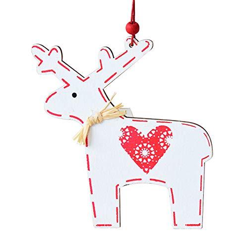 Demarkt–Navidad Alce Ornamente Madera Distressed Colgante Reno Distressed Tags para Decorar árbol de Navidad Blanco
