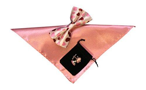 Nœud mouchoir pour homme et boutons de manchette-Rose cœurs No37