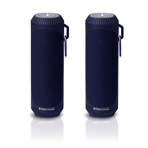 BOSS Audio Systems BOLTBLU Portable Bluetooth Speakers - Blue, 1.5 Inch Speakers, 12 Hours of Play Time, Built-in Emergency Flashlight, Sold in Pairs for Stereo Sound