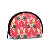 Lindo s rosa con pino monedero Shell monederos monederos bolsa de cambio pequeña cremallera cosméticos maquillaje organizador lindo multiusos