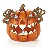 The Lakeside Collection Lighted Spooky Halloween Ceramic Pumpkin Decoration - Orange