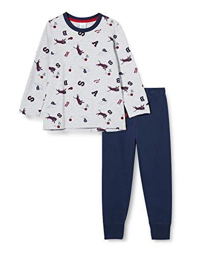 Sanetta Jungen Schlafanzug hellgrau Melange Modischer Langer Pyjama für kleine Sportskanonen kreativen Basketball-Allover, grau, 104