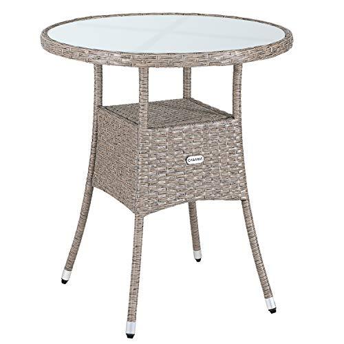 Casaria Poly Rattan Round Side Table Garden Outdoor Patio Balcony Round Bistro Cafe 60cm Beige Grey Furniture