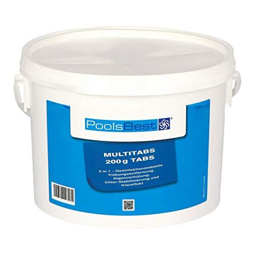 POOLSBEST® 3 kg Chlor Multitabs 5 in 1 200 g Chlortabletten für Pool - Chlor wirkt schnell gegen Bakterien, Pilze und Viren im Pool