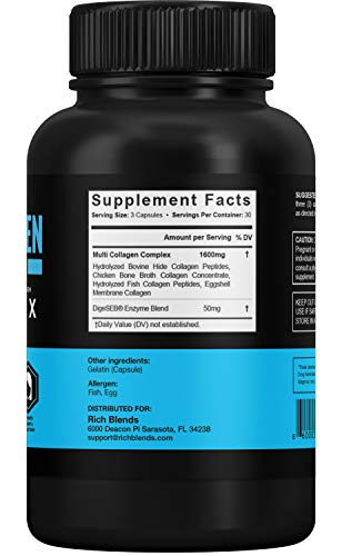 41Grok8AGEL - RichBlends Multi Collagen Peptides (Types I, II, III, V, X) - Collagen Pills - Anti-Aging, Hair, Skin, Nails, and Joint Support (90 Capsules)