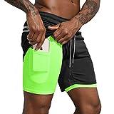 Leidowei Men's 2 in 1 Workout Running Shorts Lightweight Training Yoga Gym 7' Short with Zipper Pockets Black Fluorescent X-Large
