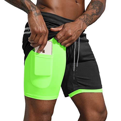 """Leidowei Men's 2 in 1 Workout Running Shorts Lightweight Training Yoga Gym 7"""" Short with Zipper Pockets Black Fluorescent M"""