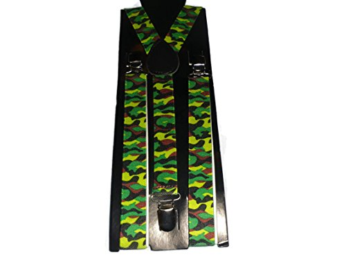 Easy Attached Camouflage Design Adjustable Braces - Bretelles - Homme Vert camouflage vert Taille Unique