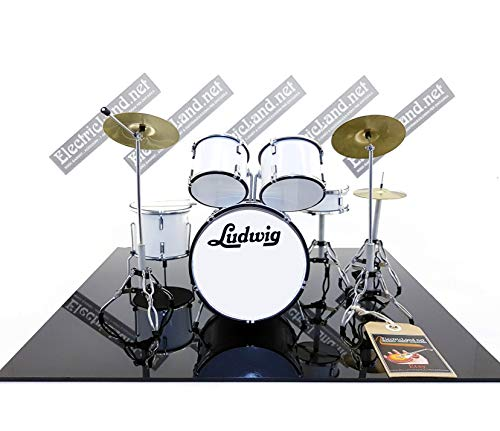 Mini Drum Kit Ludwig White Miniature Rock 25 cm Modelo Escaleras 1:4...