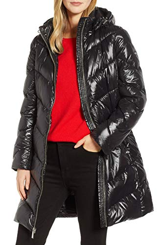 Michael Michael Kors Packable Quilted Down Chevron Puffer Jacket Coat (M) Black