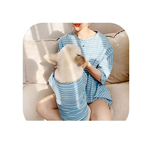 Dog Pajamas| Pet Matching Clothes for Small Dogs French Bulldog Striped Pet Shirt Dog Clothing for Dogs Costume Pug Puppy Outfit-Blue-XL for Pet Only