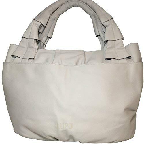 LUPO Bag - Bolso bandolera de piel auténtica para mujer, color blanco - Dimensiones (largo x alto x ancho): 45 x 30 x 13 cm - Talla única; modelo: 19192199007 Especial 27222