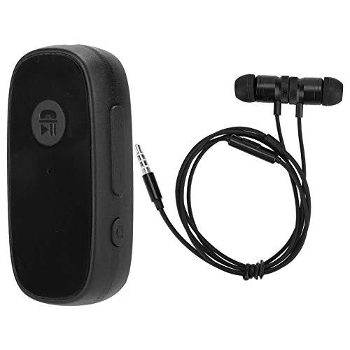 Clip para Cuello diseñado con Bluetooth 5.0 Compatible con Varios formatos de Audio Adaptador estéreo de Auriculares A80 para el hogar(Black, with Headphones)