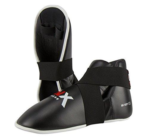 LNX Fußschützer Kickboxen TKD Performance Pro - Safetys Fußschutz Damen Herren Kinder XS S M L XL XXL schwarz rot blau weiß schwarz (001) S