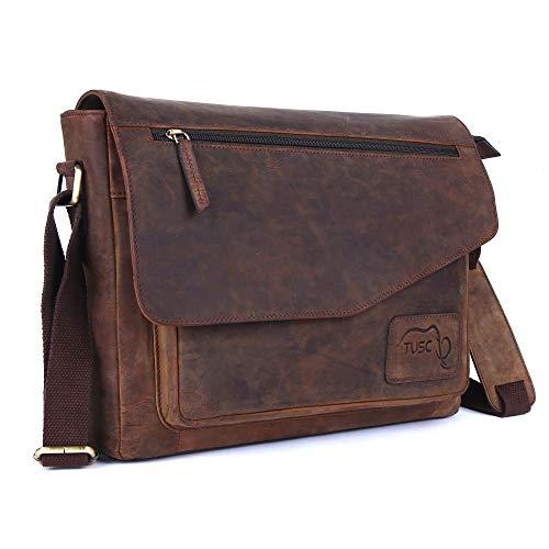 TUSC Triton Braun Leder Tasche Laptoptasche 13,3 Zoll Herren Umhängetasche Aktentasche Schultertasche für Büro Notebook Messenger Bag Laptop iPad, Größe- 36x28x9 cm