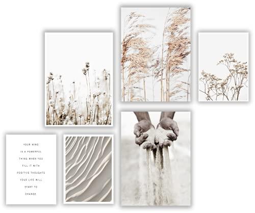 ELAFI® Premium Poster 6er Set   Stilvolle Dekoration mit passendem Bilder Set als Wohnzimmer Deko   DIN A3 & DIN A4 ohne Bilderrahmen   Kunstdruck Blätter (Dry Beauty)