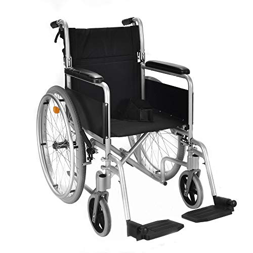 Lightweight self propelled folding wheelchair with attendant hand brakes and lapbelt 8.5kg carry weight ECSP04
