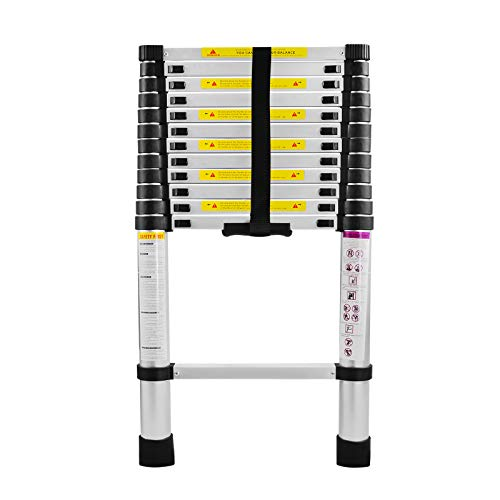 LARS360 3.8m Escalera Telescópica Multifunción Escalera Extensible Plegable Escaleras de alú, 13 Escalones Escalera Plegable Portátil para Interiores e Exteriores Carga 150KG