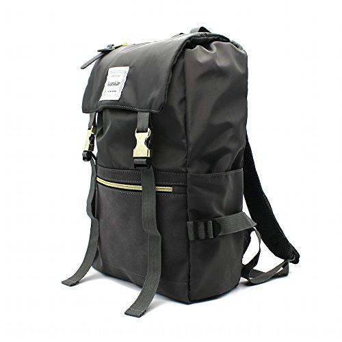 Kjarakär Gold Buckle Backpack with Drawstring Opening Durable Rucksack Perfect Bookbag for College, Daypack for Work, Travel or Unisex Diaper Bag (Charcoal)