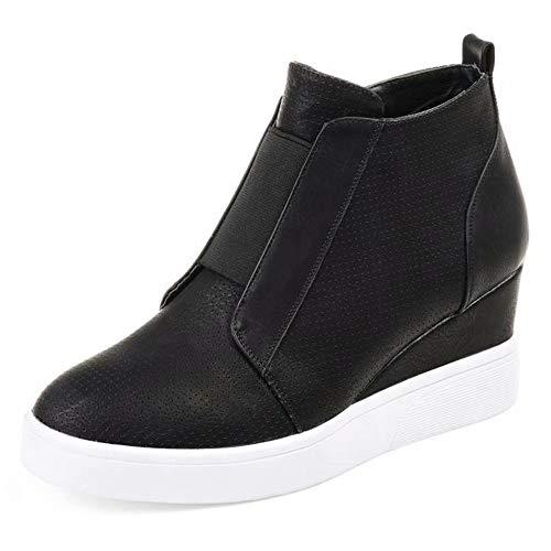 Zapatillas Deportivas de Mujer Sneakers Cuña Botines Casual Plataforma Piel 4.5cm Tacon Medio Invierno Ancho Ankle Boots Beige Azul Rosa 34-43 BK39