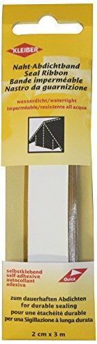 Kleiber 3 m x 2 cm Selbstklebendes, wasserdichtes, Stofffaser-Reparaturband für Zelte, Mäntel, Regenschirme usw, weiß