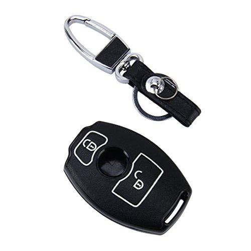 Haute Qualité voiture Clé avec coque partie de Housse en cuir synthétique & boutons en noir/lumineux pour BMW avec 2 touches voiture Clé