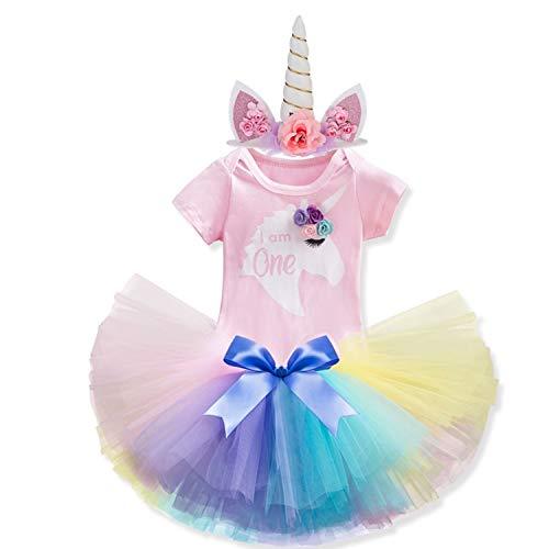 NNJXD Mädchen Newborn 1. Geburtstag 2 Stück Outfits Strampler + Tutu Kleid (1 Jahre, F-Pink)