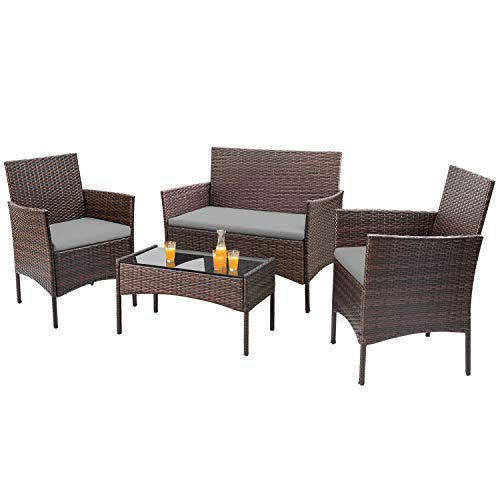 Homall 4 Pieces Outdoor Patio Furniture Sets Rattan Chair Wicker Set, Outdoor Indoor Use Backyard Porch Garden Poolside Balcony Furniture Sets (Gray)