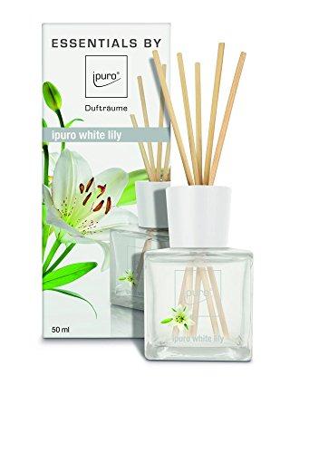 ipuro Essentials Raumduft white lily - Raumduft für ein blumig-zartes Raumklima - Lufterfrischer mit hochwertigen Inhaltsstoffen (50ml)- aus Glas mit Rattanstäbchen