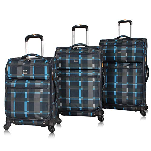Lucas Designer Luggage Collection - 3 Piece Softside Expandable Ultra Lightweight Spinner Suitcase Set - Travel Set includes 20 Inch Carry On, 24 Inch & 28 Inch Checked Suitcases (Old School Navy)
