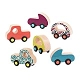 B. Toys – Wooden Cars – 6 Little Toy Cars – Colorful Car Play Set for Toddlers, Kids – Smooth Wooden Vehicles – Free Wheee-Lees – 1 Year +