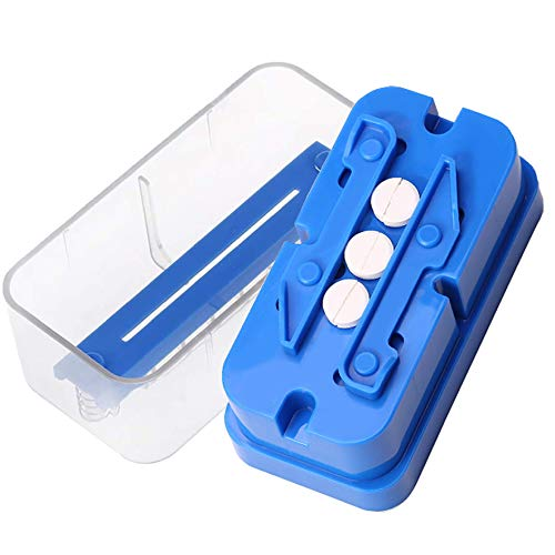 Pill Cutter, Adjustable Pill Splitter for Multiple Big/Small Pills, Stainless Steel Cutting Blade and Blade Guard, Even Cut for Splitting and Quartering Round or Oblong Pills