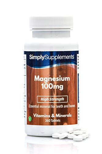 Magnesium 100mg | Vegan & Vegetarian Friendly | 360 Tablets | High Strength | Supplement for Healthy Bones & Teeth | Manufactured in The UK