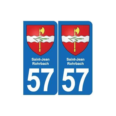 57 Saint-Jean-Rohrbach blason autocollant plaque stickers ville - Angles : arrondis