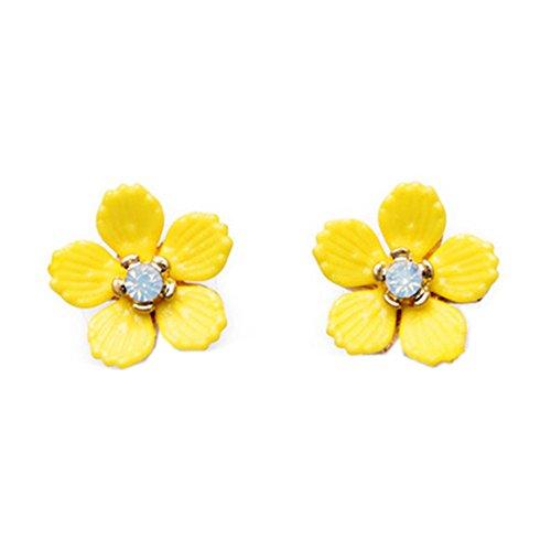 Damen-Ohrstecker, 18 Karat vergoldet, Vintage-Stil, Zirkonia, gelbe Blume