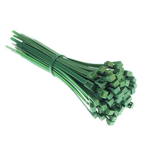 Bridas reutilizables prémium en verde, resistentes a los rayos UV, al calor y al frío, extra fuertes (100 unidades, 200 mm x 4,8 mm)
