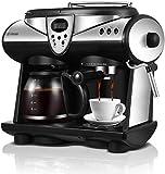 YUXIwang Máquina de café Americano/Italiano 2 sabores del café Express de la máquina de Doble Bombas y calderas Capuchino Latte Macchiato Mocha Fabricante de Espuma de Leche y 20 Bares