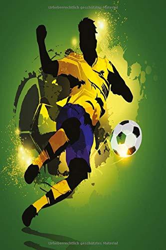 Fußball Notebook blau gelb Notizbuch: Starkes Fitness Bullet Journal 120 Dotted Punkteraster Seiten Din A5