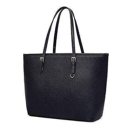 Handtasche Damen Schwarz, COOFIT Tote Umhängetasche Damen Schwarz Groß Handtasche Synthetisches Leder Schwarz Taschen Damen Aktentasche Damen Shopper Schwarz