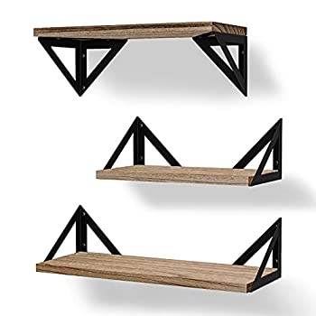 BAYKA Floating Shelves Wall Shelf Mounted Decorative Rustic Wood Hanging Shelving Set of 3 for Bedroom Kitchen Bathroom Living Room Weight Bearing Shelves for Cats Pictures Towels Accessories
