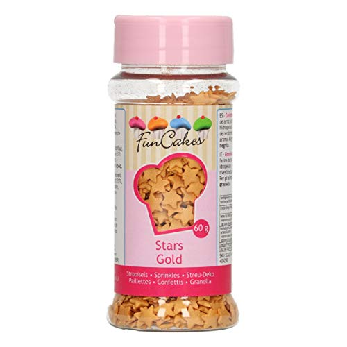 FunCakes Estrellas Oro: Sprinkles para Tartas, Gran Sabor, Perfecto para Decorar Tartas,...