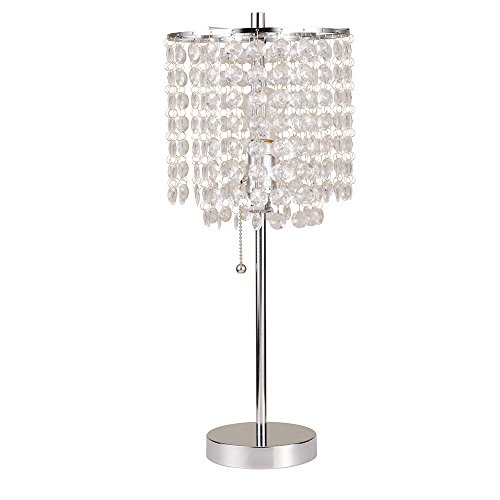 Ore International 8315C Deco Glam Table Lamp, 20.25', Silver