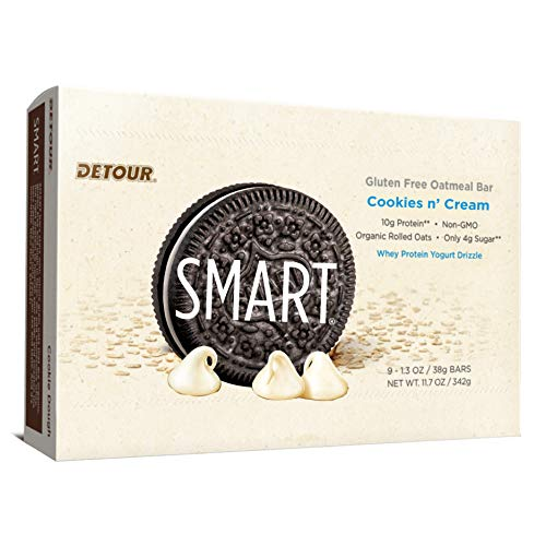 Detour Smart Gluten Free Oatmeal Bar, Cookies 'n Cream, 11.7 Ounce, 9 Count, 9 Count