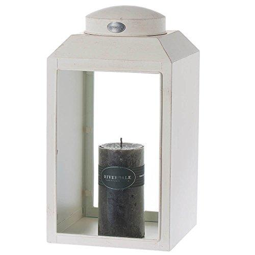 Riverdale lantaarn Ely wit van metaal en glas vintage 36 cm - tuinlantaarn - decoratieve lantaarn - tuindecoratie - lichtstukken - kaarsenhouder - zomer - winter - Kerstmis