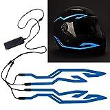 4PCS Motorcycle Helmet Light, Night Riding Signal Helmet EL Light, 3 Mode Led Helmet Light Strip Decoration Accessories Kit for Motorcycle, Bike Helmet (Blue, Battery Powered)