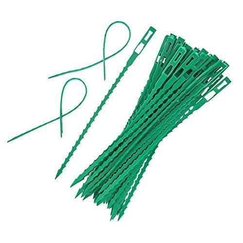 Ningque 10-100 Stück Pflanzenkabelbinder Gartenkabelbinder Tragbar Dauerhafter Umweltschutz Topfpflanzen wachsen Kits Schwarzgrüner Kunststoff Gartenarbeit Kletterstütze